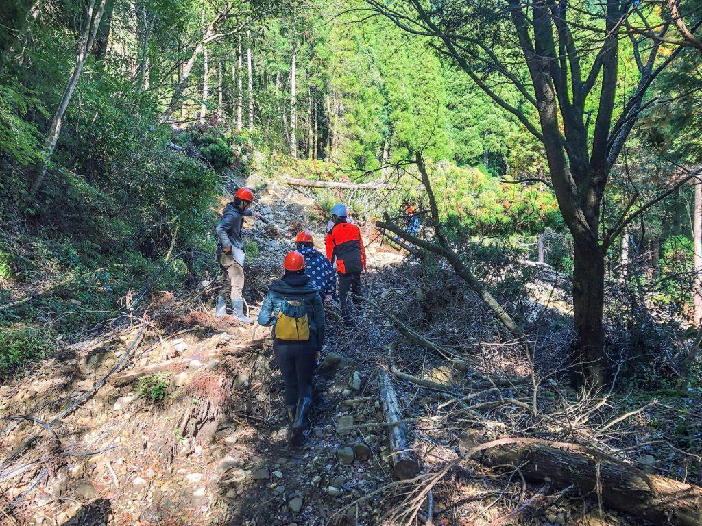 大分県日田市の崩壊した土で塞がれた林道を進む